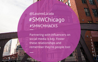 """Partnering with influencers on social media is key. Foster these relationships and remember they're people too!"" - Lauren Licata, BellyCard from Social Media Week Chicago #SMWHacks #SMWChicago"